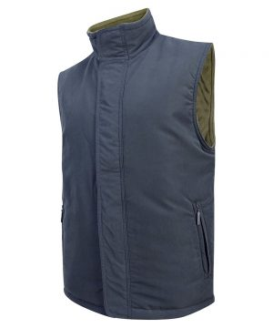 The Rantin Robin Hoggs of Fife Breezer Bodywarmer Angled Navy