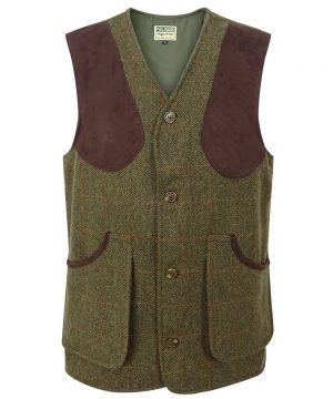 The Rantin Robin Harewood Lambswool Tweed Shooting Vest Front View