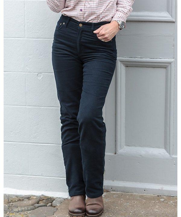 The Rantin Robin Hoggs of Fife Ladies Straight Leg Stretch Moleskin Jeans Model