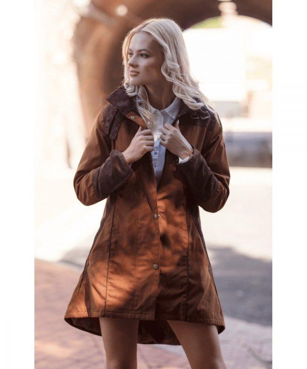 The Rantin Robin Welligogs Odette Cinnamon Waterproof Jacket Model