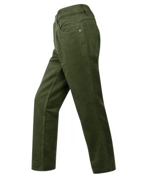 The Rantin Robin Hoggs of Fife Mens Moleskin Jeans Olive Colour