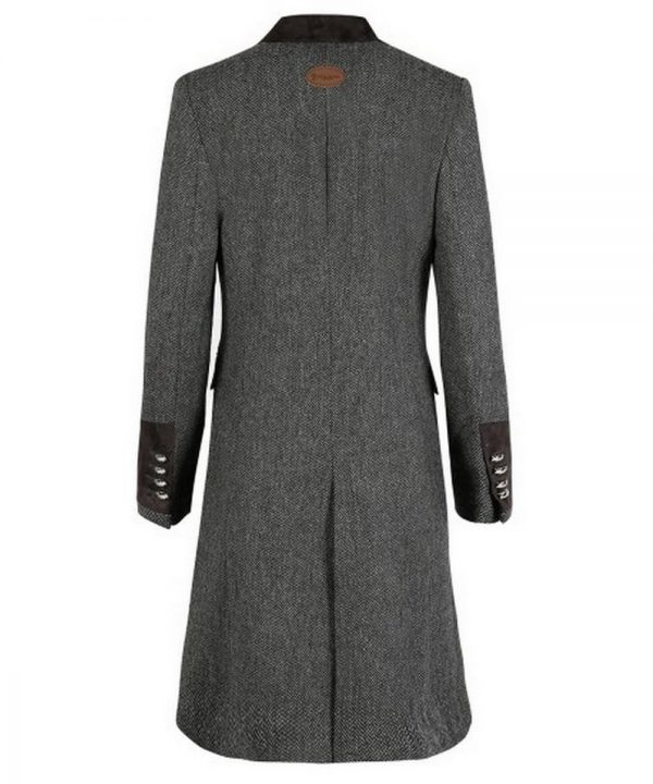 The Rantin Robin Demelza Grey Tweed Coat Back View