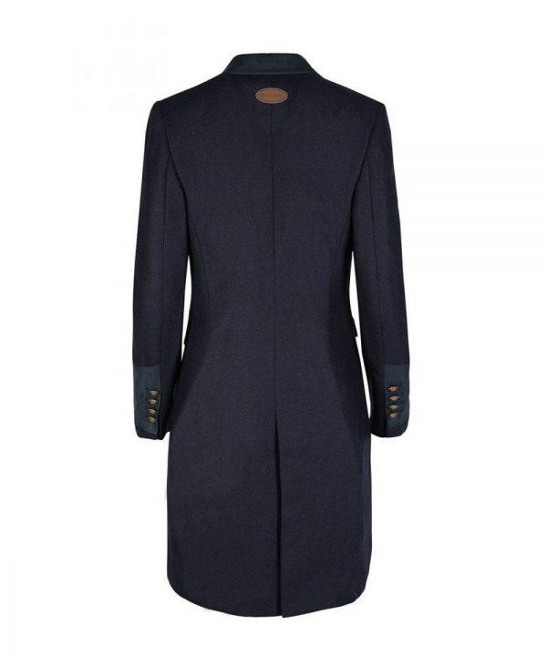 The Rantin Robin Welligogs Demelza Navy Tweed Coat Back View