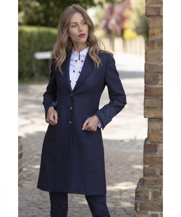 The Rantin Robin Welligogs Demelza Navy Tweed Coat Model