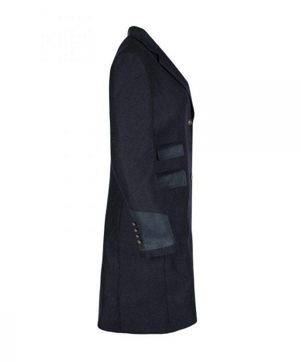 The Rantin Robin Demelza Navy Tweed Coat Side View