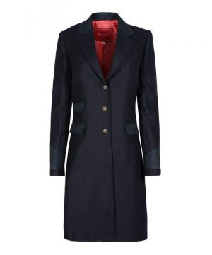 The Rantin Robin Welligogs Demelza Navy Tweed Coat