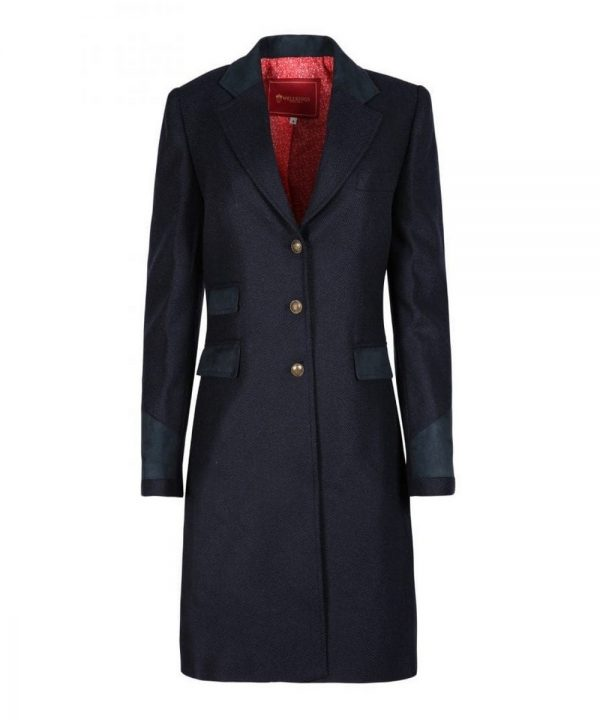 The Rantin Robin Welligogs Demelza Navy Tweed Coat