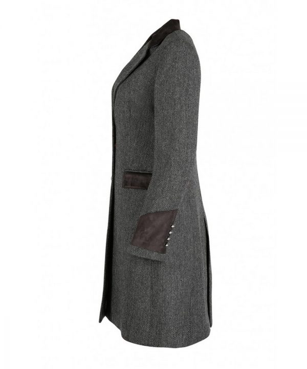 The Rantin Robin Welligogs Demelza Grey Tweed Coat Side View