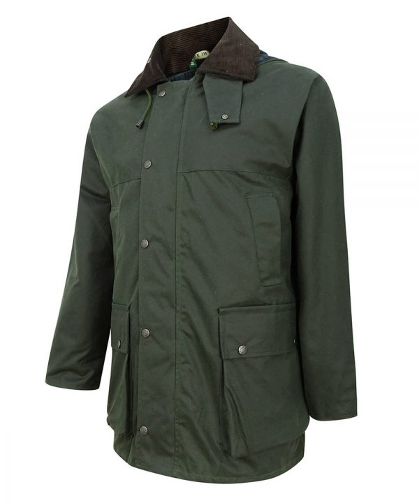 The Rantin Robin Hoggs of Fife Padded Waxed Jacket Angled View