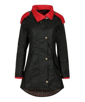 The Rantin Robin Welligogs Louise Red Collar Waxed Jacket