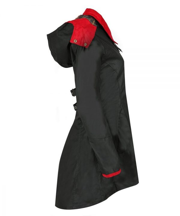 The Rantin Robin Welligogs Louise Red Collar Waxed Jacket Side View