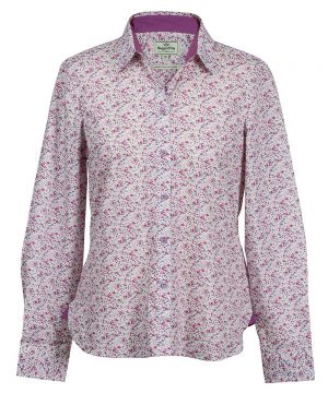 The Rantin Robin Hoggs of Fife Bella Ladies Floral Shirt Front View
