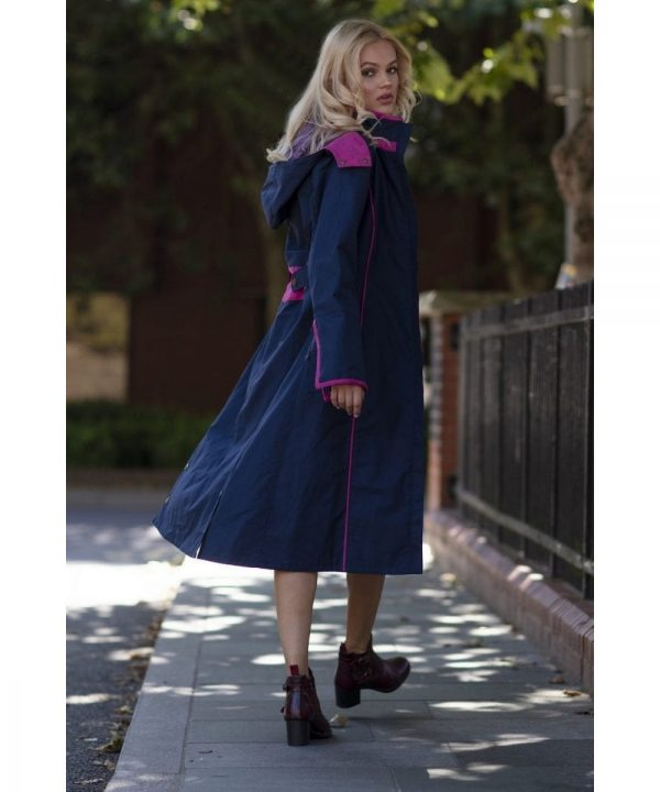 The Rantin Robin Eleanor Long Length Navy Coat Model Back