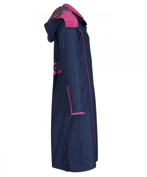 The Rantin Robin Eleanor Long Length Navy Coat Side View