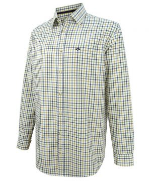 The Rantin Robin Hoggs of Fife Falkland Herringbone Twill Tattersall Shirt Blue