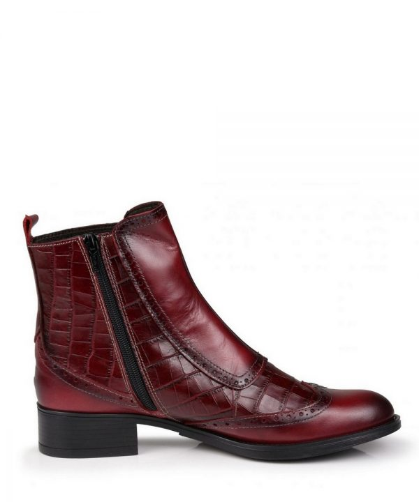 The Rantin Robin Welligogs Burgundy Leather Chelsea Boots Zip