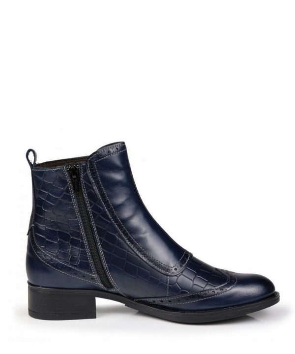 The Rantin Robin Welligogs Navy Leather Chelsea Boots Zip