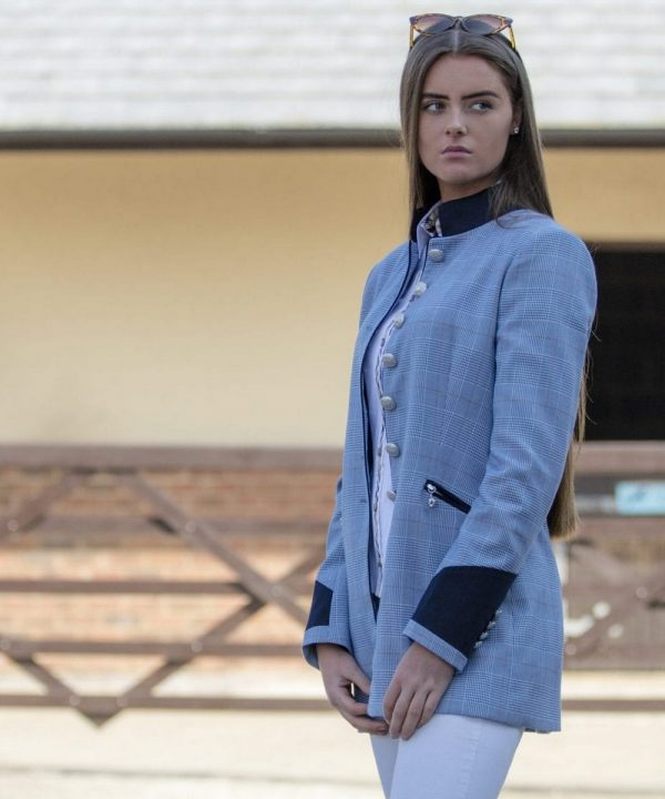 The Rantin Robin Welligogs Henley Blue Check Fitted Jacket Model