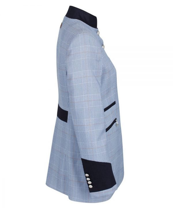 The Rantin Robin Welligogs Henley Blue Check Fitted Jacket Side