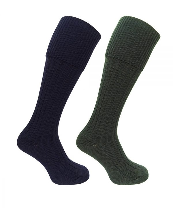 The Rantin Robin Hoggs of Fife Plain Turnover Top Stockings Olive Navy