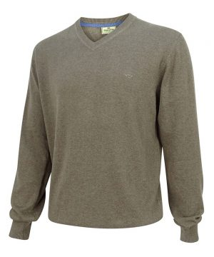 The Rantin Robin Hoggs of Fife Stirling V-Neck Cotton Pullover Grey