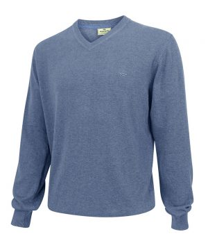 The Rantin Robin Hoggs of Fife Stirling V-Neck Cotton Pullover Denim