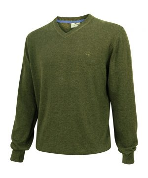 The Rantin Robin Hoggs of Fife Stirling V-Neck Cotton Pullover Green