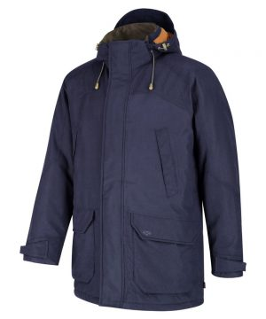The Rantin Robin Argyll Waterproof Parka Navy Colour Front View