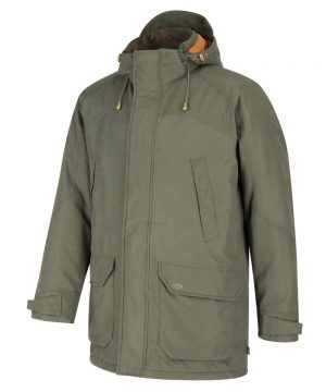 The Rantin Robin Argyll Waterproof Parka Olive Colour Front View