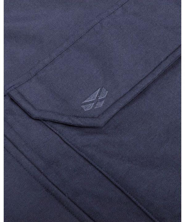 The Rantin Robin Argyll Waterproof Parka Navy Colour Pocket Detail