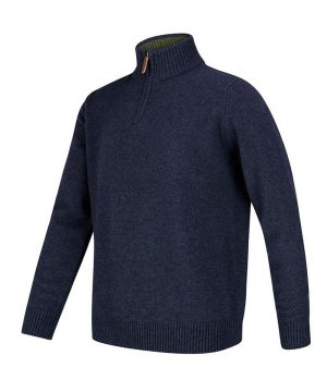 The Rantin Robin Lothian 1/4 Zip Neck Pullover Indigo Colour