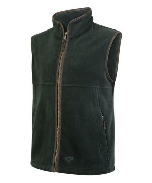 The Rantin Robin Stenton Technical Fleece Gilet Pine Colour Front View