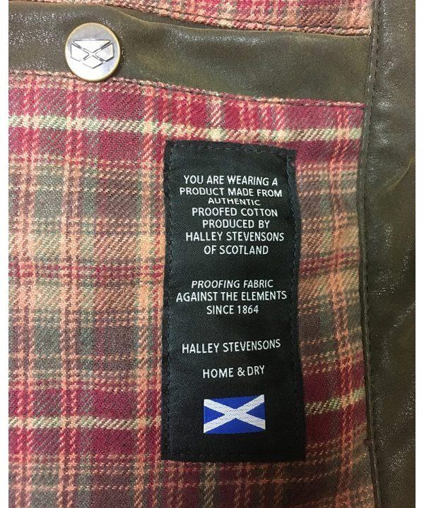 The Rantin Robin Caledonia Mens Waxed Jacket Label