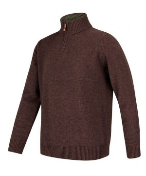 The Rantin Robin Lothian 1/4 Zip Neck Pullover Redwood Colour