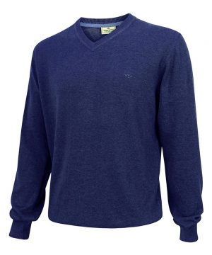 The Rantin Robin Stirling V Neck Cotton Pullover Navy Denim Colour