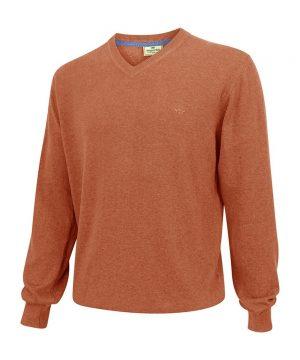 The Rantin Robin Stirling V Neck Cotton Pullover Rust Colour