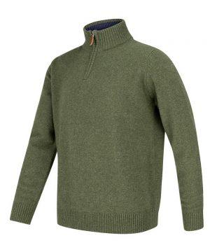 The Rantin Robin Lothian 1/4 Zip Neck Pullover Thyme Colour